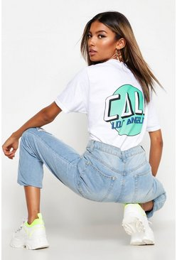 Womens White Cali Slogan Back Print T-Shirt