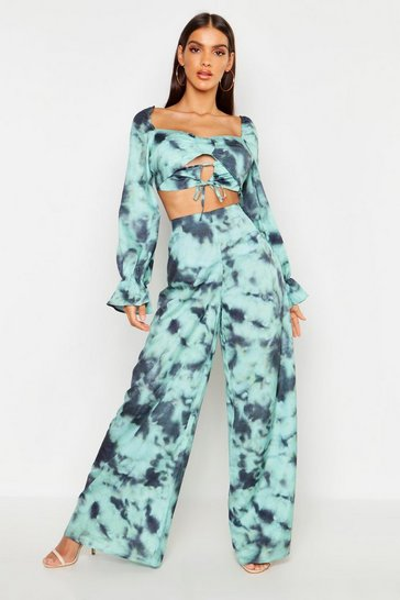 Womens Green Tie Dye Satin Wide Leg Trouser