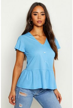Womens Sky Linen Pep Hem Angel Sleeve Blouse