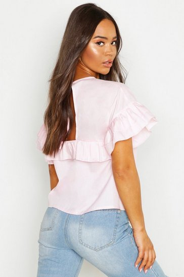 Womens Pink Cotton Ruffle Open Back Shell Top