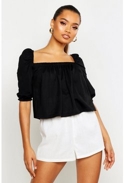 Black Linen Gypsy Smock Top