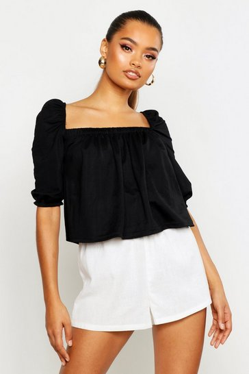 Womens Black Linen Gypsy Smock Top