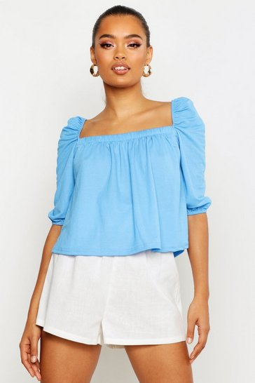 Womens Sky Linen Gypsy Smock Top