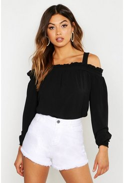 Womens Black Woven Ruffle Cold Shoulder Smock