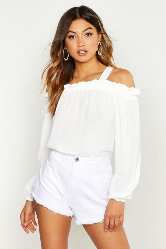 Womens White Woven Ruffle Cold Shoulder Smock