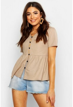 Womens Stone Basic Button Woven Smock Top
