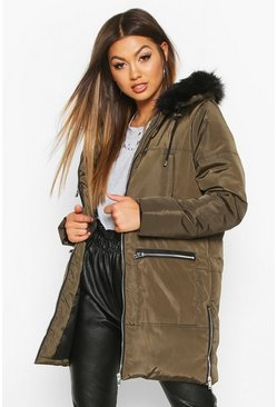 Womens Khaki Faux Fur Trim Zip Detail Parka
