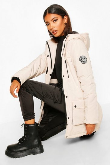Womens Cream Pocket Detail Technical Parka