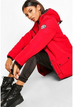 Dam Red Pocket Detail Technical Parka