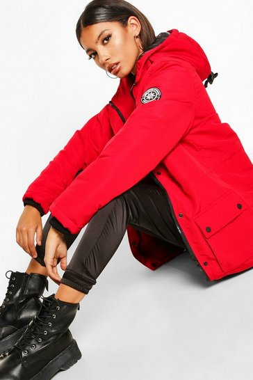 Womens Red Pocket Detail Technical Parka