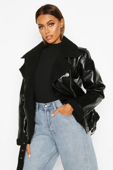 Womens Black Patent Bonded Biker Jacket