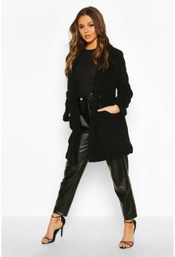 Womens Black Double Pocket Faux Fur Teddy Coat