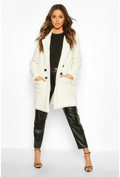 Cream Double Pocket Faux Fur Teddy Coat