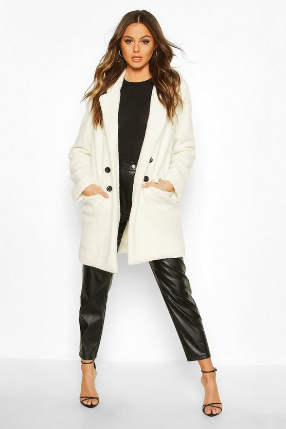Double Pocket Faux Fur Teddy Coat
