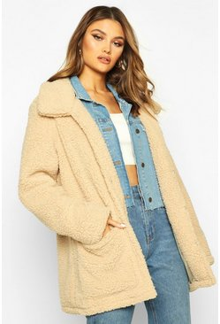 Womens Caramel Double Pocket Teddy Faux Fur Coat