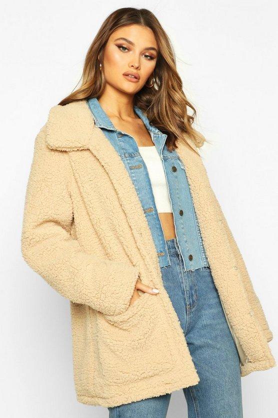 Double Pocket Teddy Faux Fur Coat