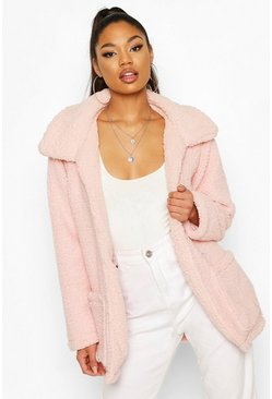 Pastel pink Double Pocket Teddy Faux Fur Coat