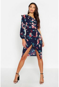 Womens Navy Floral Print One Shoulder Wrap Midi Dress