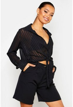 Womens Black Sheer Stripe Tie Front Shirt
