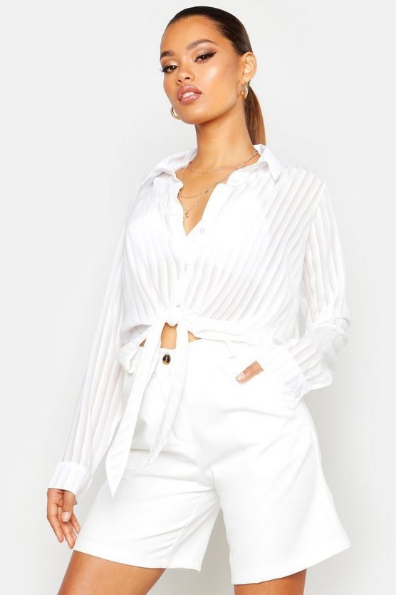 Sheer Stripe Tie Front Shirt by Boohoo
