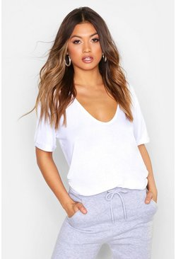 Womens White Plunge Front Oversized T-Shirt