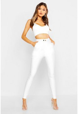 Womens White Popper Front Super Stretch High Waisted Skinnys
