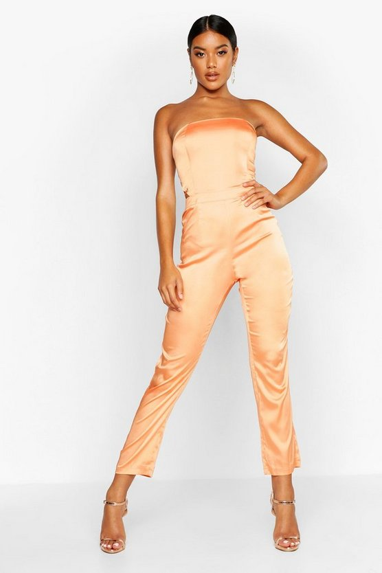 Womens Orange Satin Strappy Back Jumpsuit