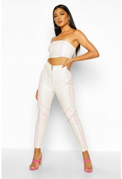 Womens White Neon Trim Biker Leather Look Trouser