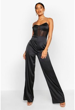 Womens Black Satin Chain Strap Corset Jumpsuit