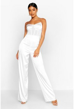 Womens Nude Satin Chain Strap Corset Jumpsuit