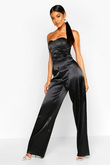Womens Black Satin Bandeau Wide Leg Jumpsuit