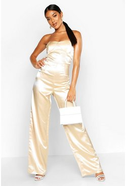 Womens Champagne Satin Bandeau Wide Leg Jumpsuit