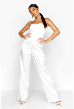 Womens White Satin Bandeau Wide Leg Jumpsuit