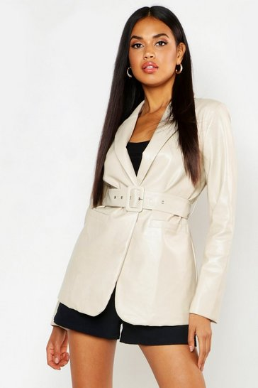 Womens Cream Faux Leather Belted Jacket