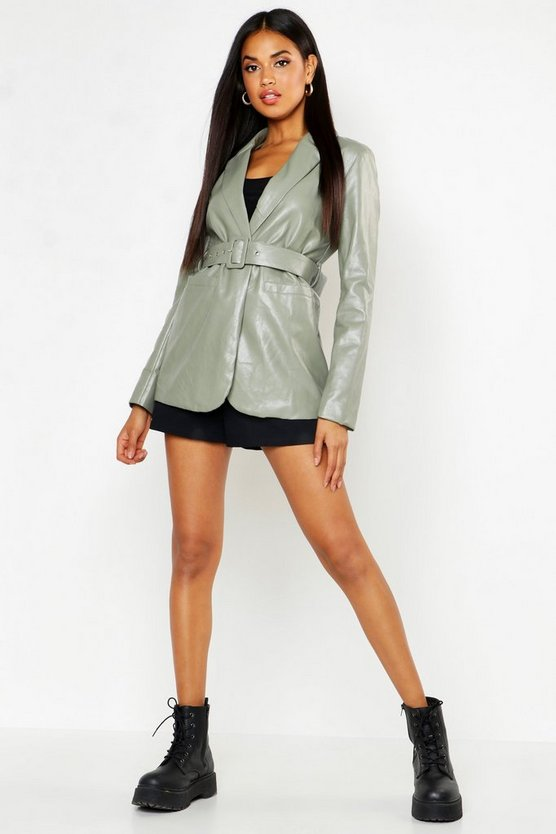 Womens Sage Faux Leather Belted Jacket