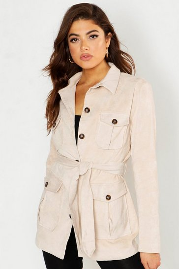 Womens Cream Suedette Double Pocket Utility Jacket