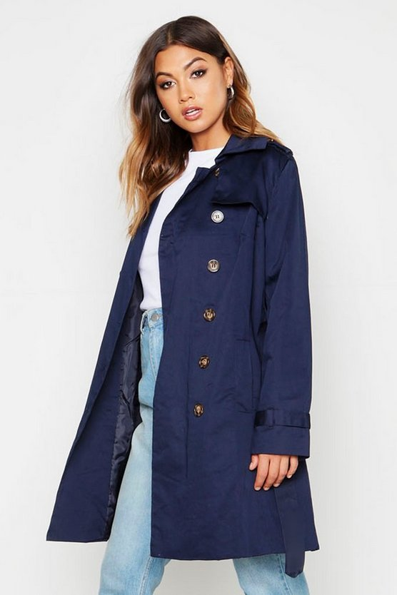 Womens Navy Belted Double Breasted Trench