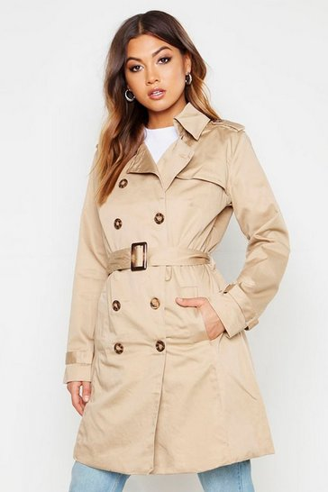 Womens Stone Belted Double Breasted Trench