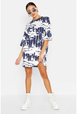 Womens Blue Tie Dye T-Shirt Dress
