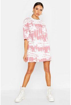Womens Pink Tie Dye T-Shirt Dress