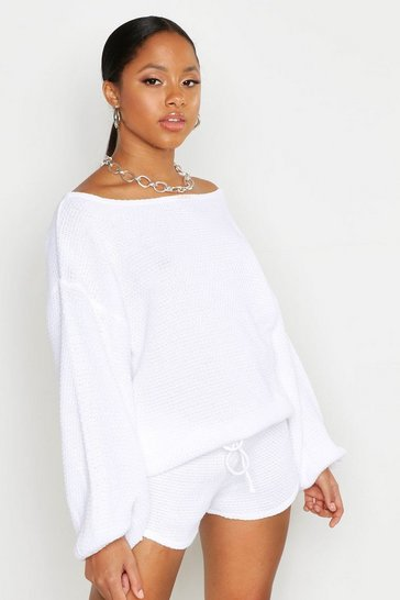 Womens White Knitted Slash Neck Short Set