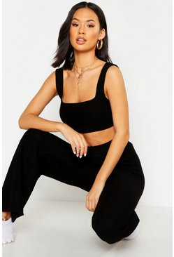 Womens Black Knitted Square Neck Crop Flare Set
