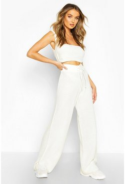 Cream Knitted Square Neck Crop Flare Set