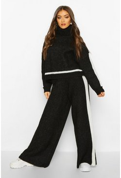Womens Black Premium Heavy Knitted Sports Athleisure Set