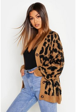 Womens Toffee Oversized Leopard Knitted Cardigan
