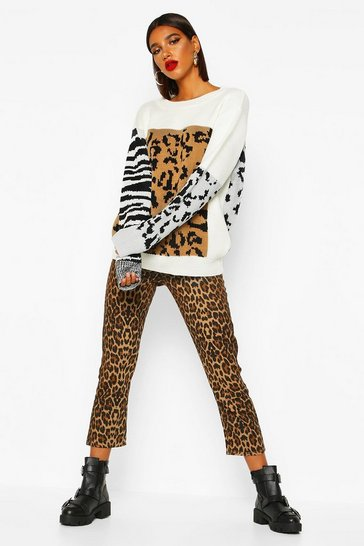 Womens Camel Mixed Animal Knitted Jumper