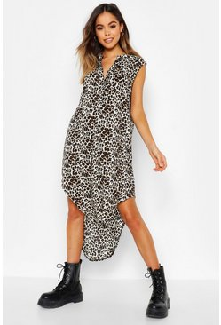 Womens Natural Woven Leopard Sleeveless Shirt Dress