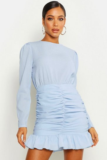 Womens Powder blue Crinkle Ruched Detail Lace Sleeve Mini Dress