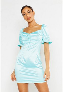 Womens Turquoise Satin Ruched Mini Dress