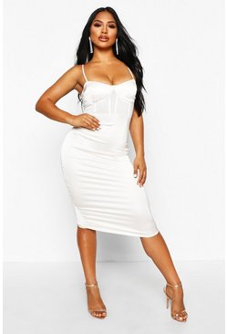 Nude Mesh Insert Chain Strap Midi Dress